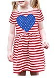 Fheaven Toddler Baby Girls Striped Stars Heart Pattern Dress (4T, Red)