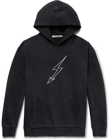 Givenchy Distressed Printed Loopback Cotton-Jersey Hoodie