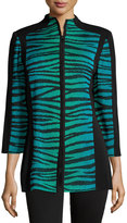 Misook Alyse Zebra-Print Zip Jacket, Black/Jade/French Blue