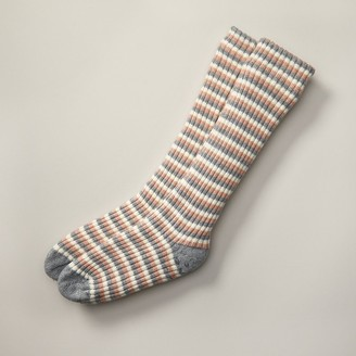 Indigo Rib Stripe Reading Socks Pink And Grey