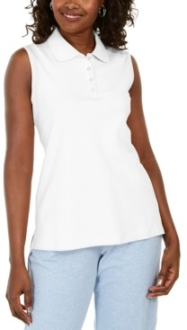 Karen Scott Cotton Sleeveless Polo Shirt, Created for Macy's