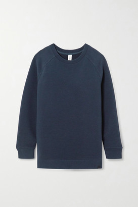 Varley Manning Zip-detailed Ribbed Cotton-blend Sweatshirt - Navy