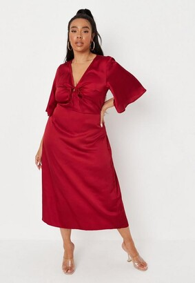 Missguided Plus Size Red Frill Sleeve Tie Front Skater Midaxi Dress