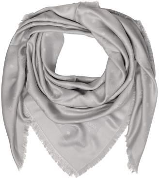 MCM Light Gray Wool and Silk Monogram Lurex Scarf