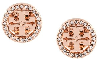 Tory Burch Crystal Logo Circle-Stud Earrings