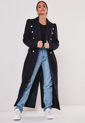 Missguided Navy Double Breasted Military Coat