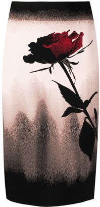 Alexander McQueen Rose Motif Pencil Skirt
