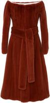 Brock Collection Florence Fur Off The Shoulder Coat