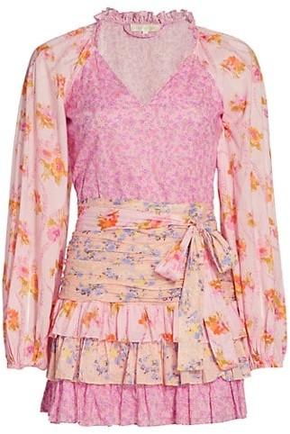 LoveShackFancy Rina Mixed Print Ruffle Mini Dress