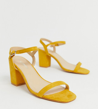 Glamorous Wide Fit yellow block heel sandals