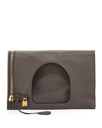 Tom Ford Alix Leather Padlock & Zip Fold-Over Bag