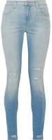 J Brand Maria Distressed High-rise Skinny Jeans - Light denim