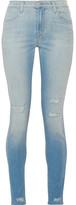 J Brand Maria Distressed High-rise Skinny Jeans - Light denim