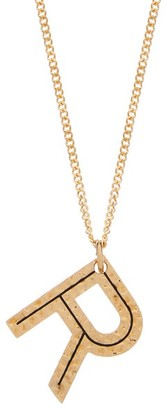 Burberry Hammered Letter-pendant Gold-plated Necklace - Womens - Gold