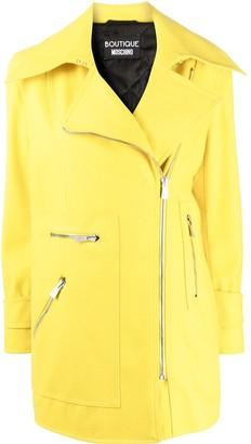 Boutique Moschino Long-Sleeve Short Raincoat