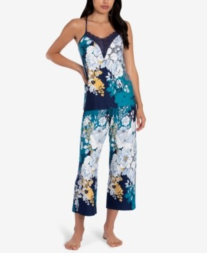 Linea Donatella Lace-Trim Cami & Capri Pants Pajama Set
