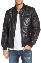 Members Only Men's Quilted Faux Leather Bomber Jacket