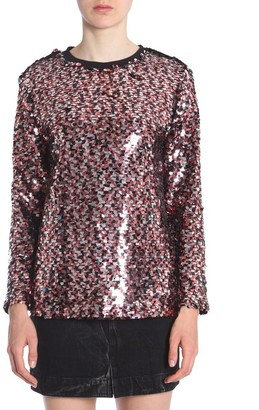 McQ Long-Sleeve Sequined Blouse