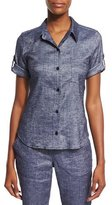 Theory Pauleen Tierra Washed Denim Top