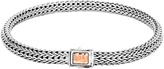John Hardy Classic Chain 5MM Hammered Clasp Bracelet, Silver, 18K Rose