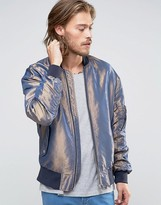 Asos Two Tone Bomber Jacket In Blue