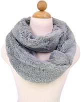 TrendsBlue Super Soft Premium Faux Fur Solid Color Warm Infinity Circle Scarf