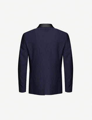 Oscar Jacobson Ettore double-breasted slim-fit cotton and wool-blend blazer
