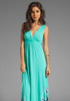 Gypsy 05 La Ba Dee Bamboo Twist Shoulder Gypsy V-Bottom Dress in Lagune/Twilight
