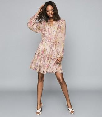 Reiss CARI FLORAL SMOCK DRESS Pink