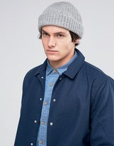 Asos Chunky Ribbed Fisherman Beanie In Gray
