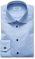 Eton of Sweden Gray Window Grid Contemporary Fit Dress Shirt