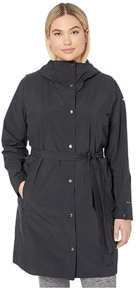 Columbia Plus Size Here and Theretm Long Trench Jacket (Black) Women's Coat