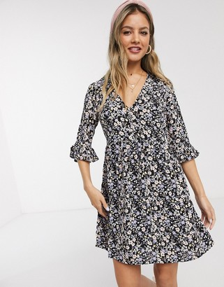 Miss Selfridge v neck smock dress in black