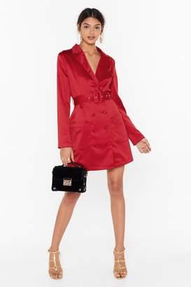 Nasty Gal Womens Such A Hell Blazer Satin Dress - Red - 4