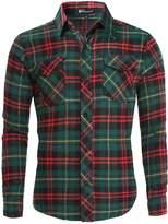 uxcell Allegra K Mens Long Sleeves Check Print Casual Plaid Flannel Shirt M