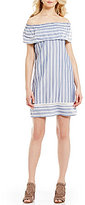 M.S.S.P. Off-the-Shoulder Short Sleeve Striped Chambray Dress