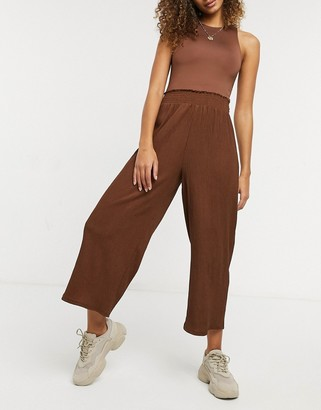 ASOS DESIGN textured shirred waist culotte pants in brown