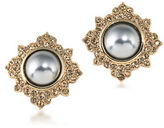 Carolee 12K Goldplated 10MM Faux Pearl Button Earrings