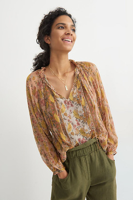 Love Sam Annesse Shimmer Blouse By in Beige Size XS