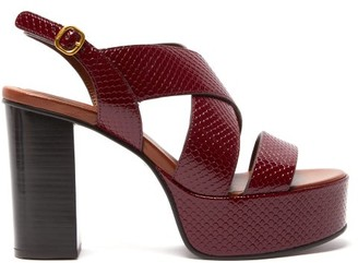 See by Chloe Snake-effect Leather Platform Sandals - Womens - Burgundy