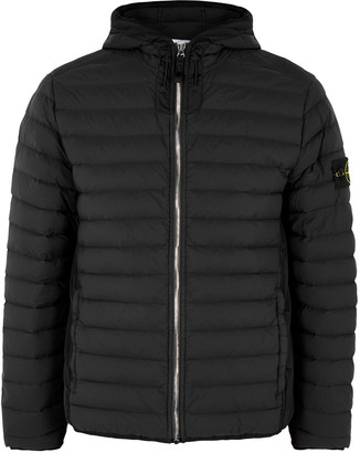 Stone Island Loom Woven black quilted shell jacket