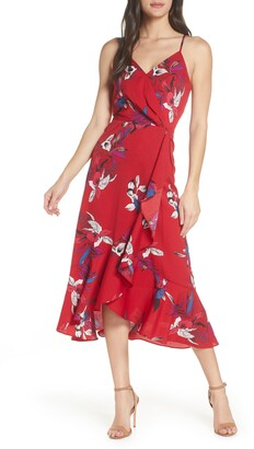 Chelsea28 Faux Wrap Floral Midi Dress