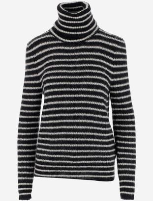 Saint Laurent Black & White Mohair Women's Turtleneck Sweater