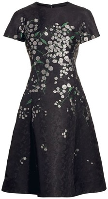 Teri Jon By Rickie Freeman Floral Jacquard Cocktail Dress