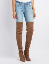 Charlotte Russe Peep Toe Lace-Up Over-The-Knee Boots