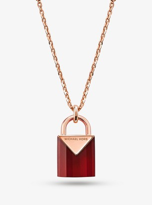 Michael Kors Precious Metal-Plated Sterling Silver Lock Necklace