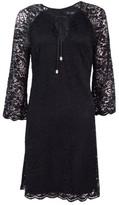 Jessica Simpson Women's Floral Lace Keyhole Shift Dress (4, Black)