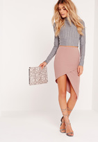 Missguided Slanted Wrap Skirt Pink
