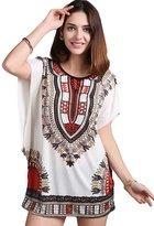 YOUJIA Womens Plus Size Batwing Sleeve Bohemian Tunic Dress