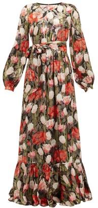 Borgo de Nor Dianora Floral-print Silk-blend Lame-satin Dress - Black Multi